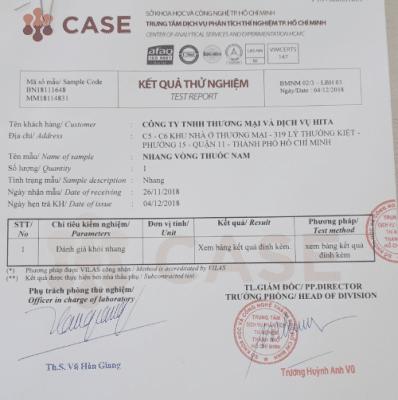 Thông tin kiểm định nhang sạch thảo dược HITA